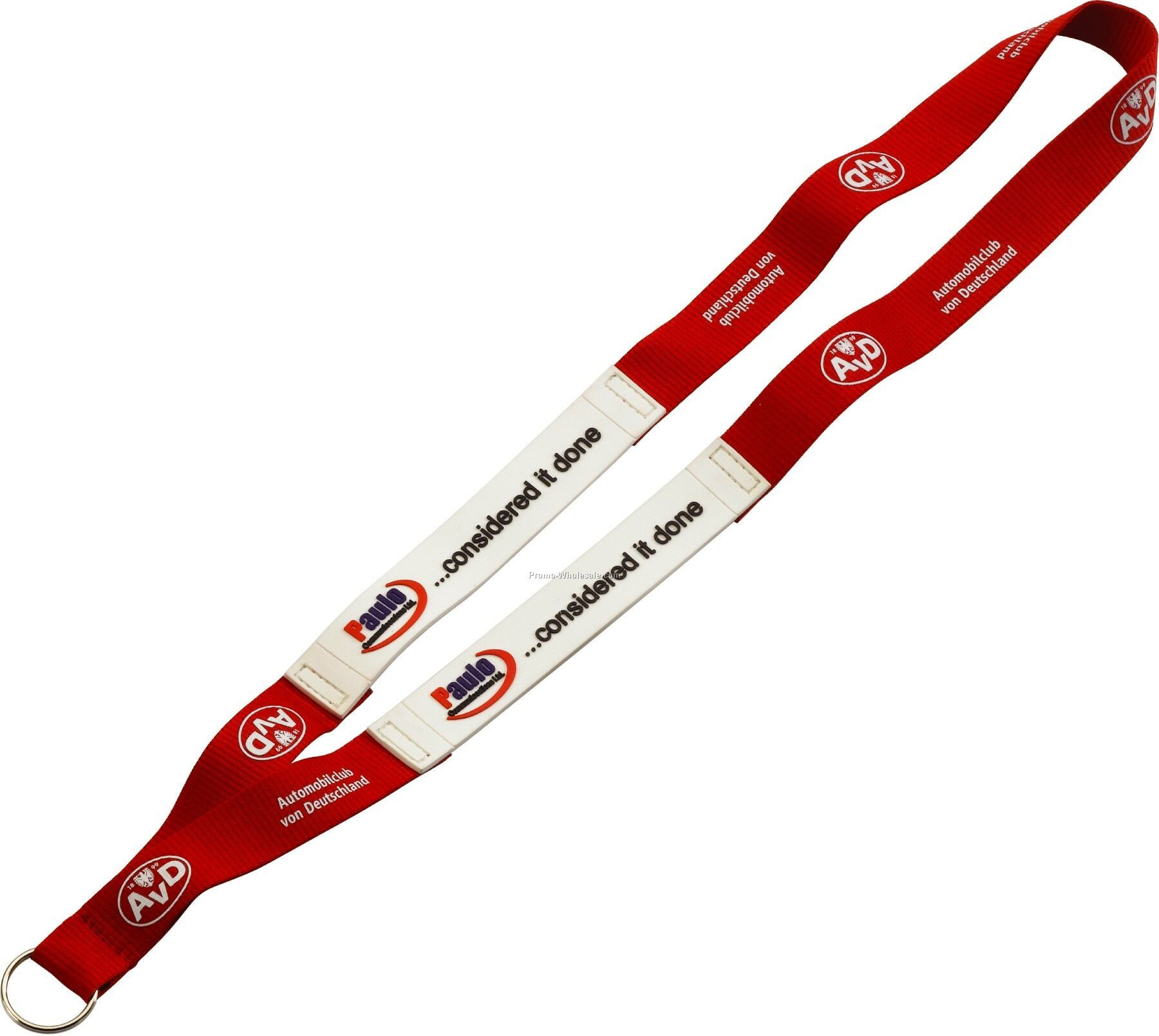 """3/4"""" Imported Pvc Patch Polyester Lanyard With Sewn Split Ring"""