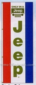 3'x8' Stock Double Face Dealer Rotator Logo Flags - Only In A Jeep