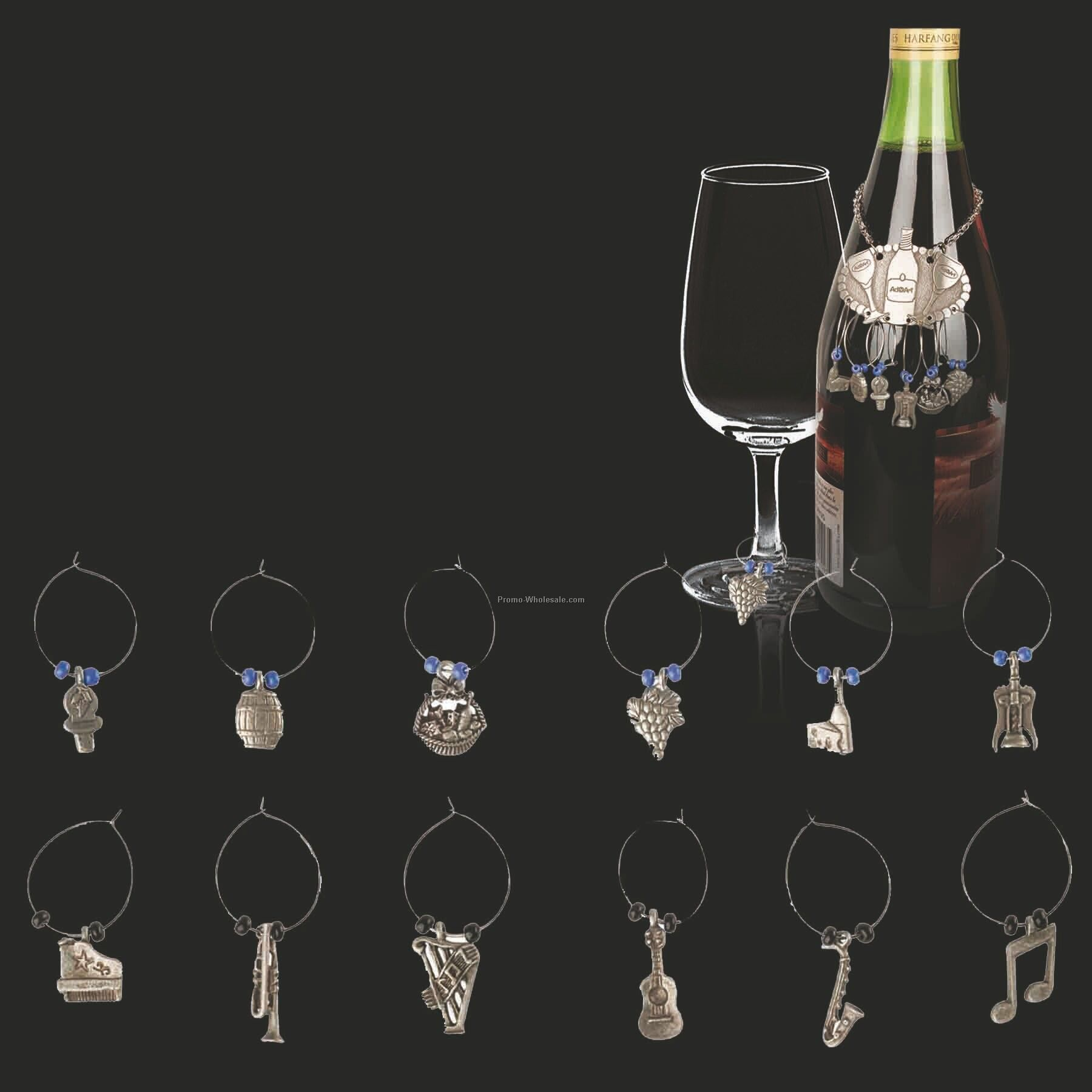 6-piece Stock Wine Glass Marker Set