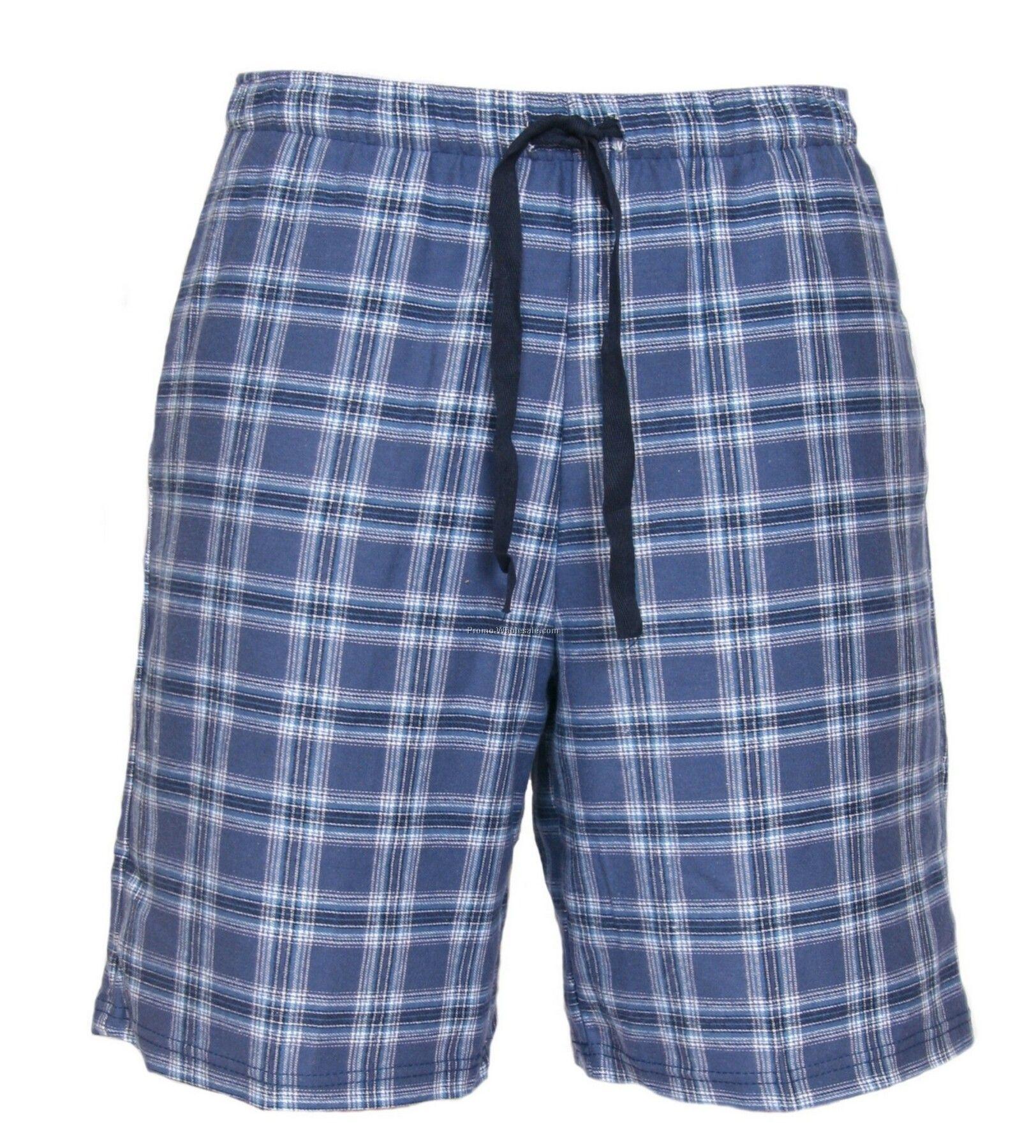 Adults' Royal Blue/ White Flannel Dorm Shorts (2xl)