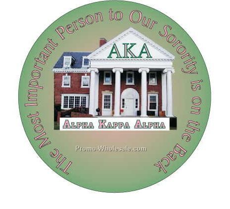 "Alpha Kappa Alpha Sorority House Round Mirror W/ Full Mirror Back (2-1/2"")"
