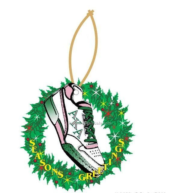 Alpha Kappa Alpha Sorority Shoe Wreath Ornament W/ Mirror Back (6 Sq. Inch)