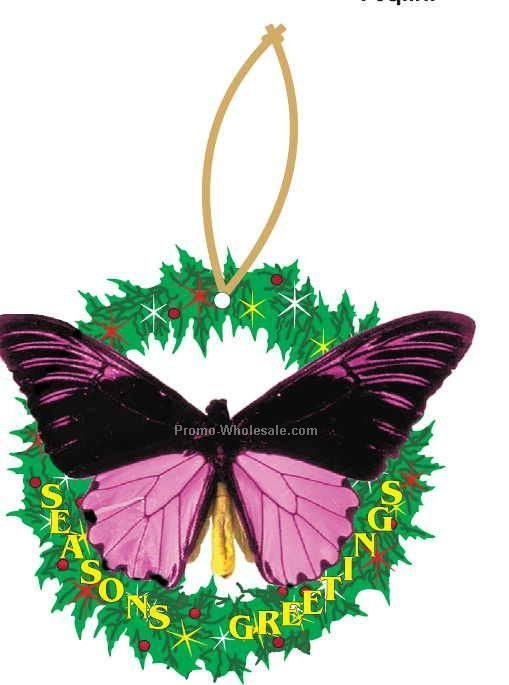 Black & Purple Butterfly Executive Wreath Ornament W/Mirror Back(6 Sq. In.)
