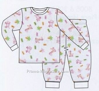 Girls Two Piece Printed Long Pj Set (Newborn-large)