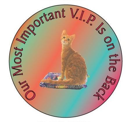 "Laperm Cat Round Hand Mirror W/ Full Mirror Back (2-1/2"")"