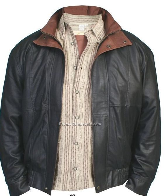 Men's Cognac Double Collar Leather Featherlite Jacket (S-3xl)