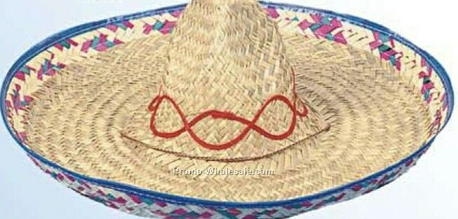 Mexican Seagrass Straw Sombrero Hat W/ Swirl Designs (One Size Fit Most)
