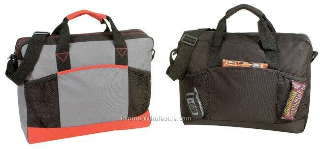 Poly Briefcase With Front Mesh Pockets