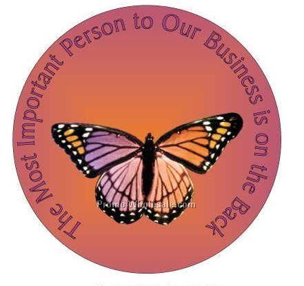 "Purple & Pink Butterfly Round Photo Hand Mirror W/ Full Mirror Back(2-1/2"")"