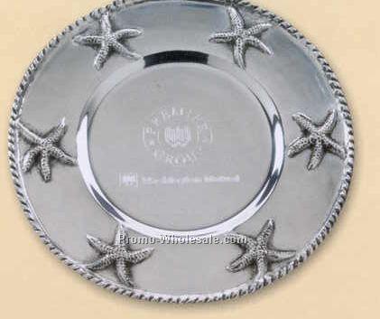 """Starfish Round Pewter Plate - 12-1/4"""" Diameter"""