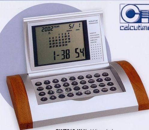 Wood World Time Calculator Alarm Clock W/ Currency Converter