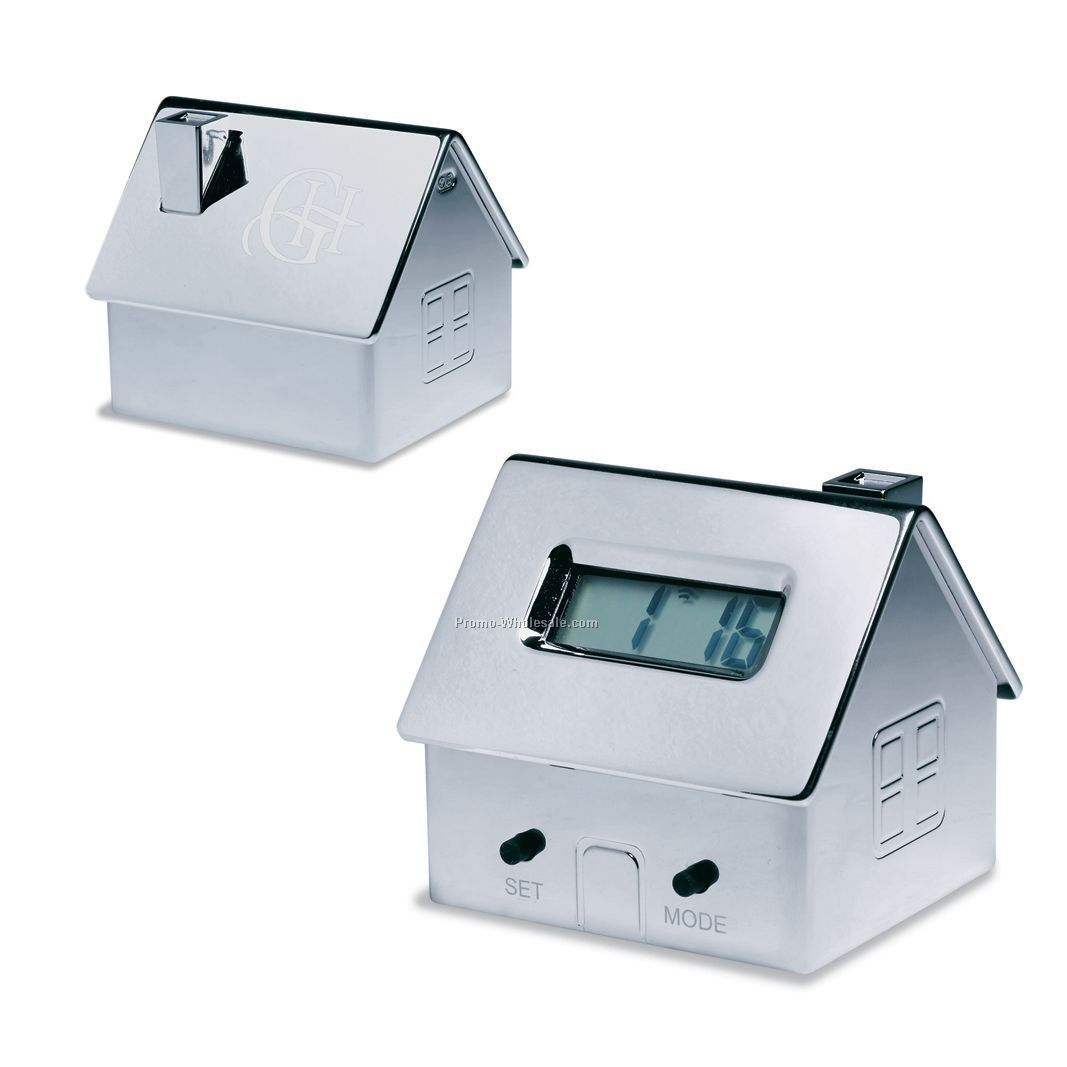 "2-3/8""x2-1/8"" House Shaped Digital Clock With Alarm"