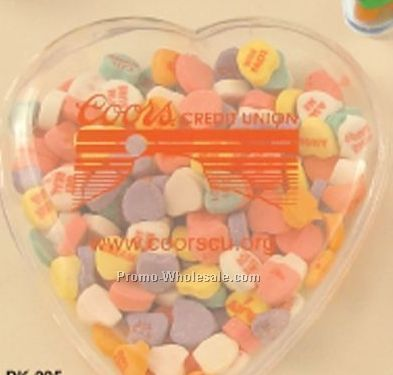 "2 Piece Plastic Heart Container W/ Conversation Hearts 5-7/8""x5-1/4""x1-5/8"""