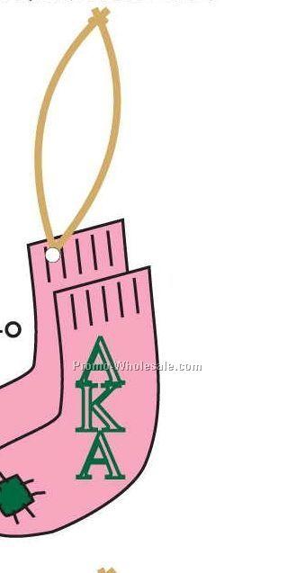 Alpha Kappa Alpha Sorority Socks Ornament W/ Mirrored Back (6 Square Inch)