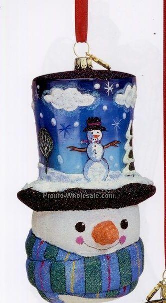 European Blown Glass Ornament Collection/ Snowman W/ Hat