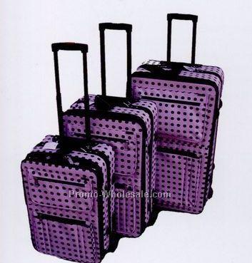 Fashion Luggage 3 Piece Set Collection B (Black Polka Dots/Purple)