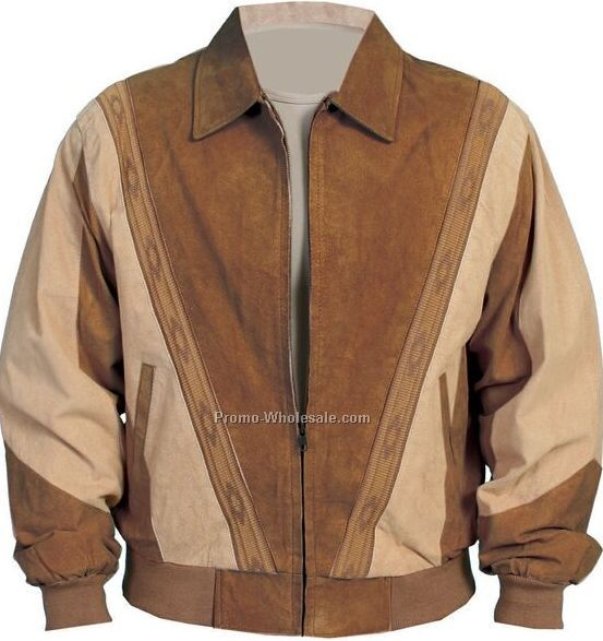 Men's Boar Suede Leather Prairie Jacket - Brown W/Green Trim (S-2xl)