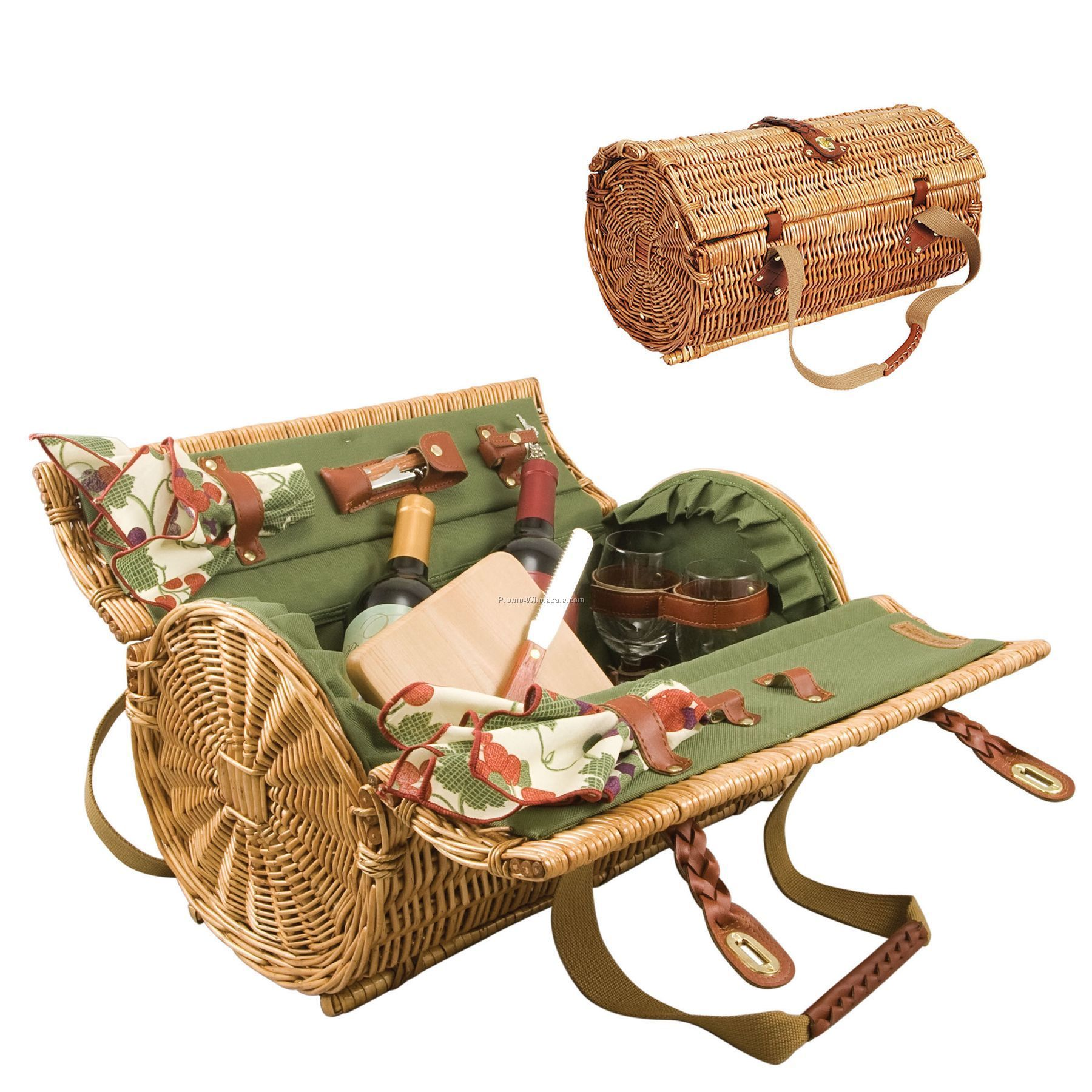 Verona Wine Basket With Deluxe Wine & Cheese Service For 2