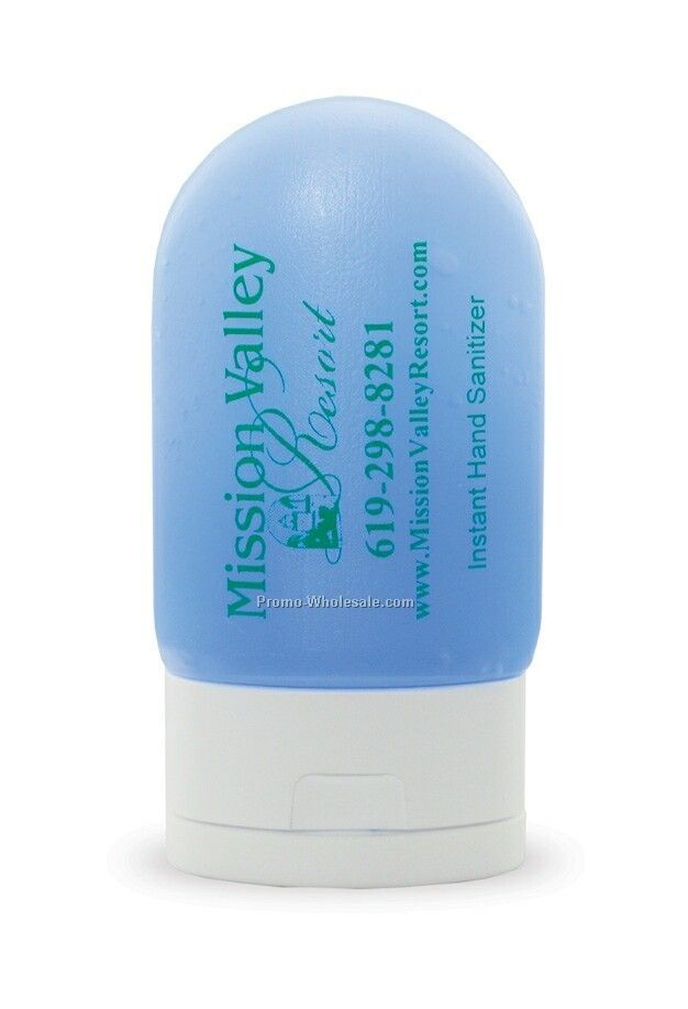 1 Oz. Hand Sanitizing Tottle - Blue Antibacterial Gel/Alcohol