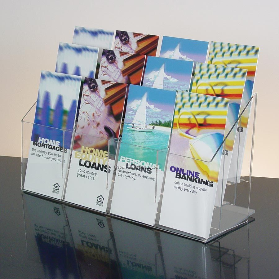 12-pocket Clear Acrylic Brochure Holder - Countertop