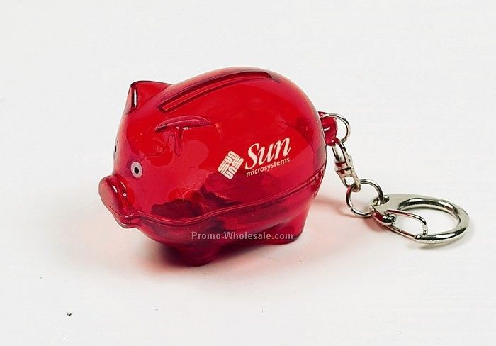 "2""x1-1/4"" Red Piggy Bank Keychain"