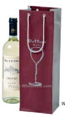 """4-1/2""""x3-1/2""""x13-1/2"""" Non Woven Poly Fabric Wine Bag W/ Euro Style Handles"""