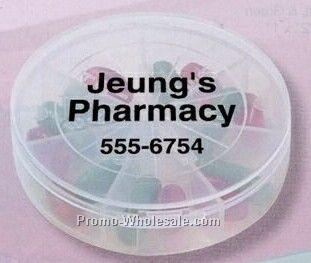 """7 Compartment Round Pill Box (2-1/2""""x2-1/2""""x1/2"""")"""