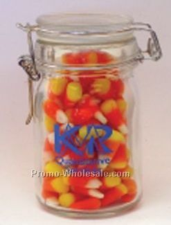 8 Oz. Glass Canning Jar Filled W/ Candy Corn