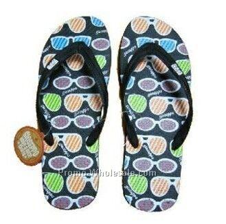Black Flip Flop Shoe W/ Sunglasses Pattern