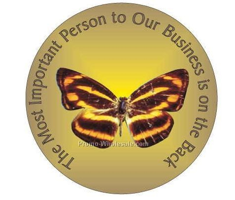 "Brown & Yellow Butterfly Round Photo Hand Mirror W/Full Mirror Back(2-1/2"")"
