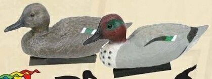 Classic Green Winged Teal Duck Decoy W/ Water Keel