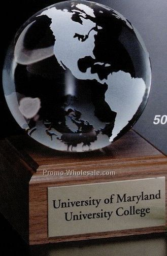 Crystal Continental Globe Award On Walnut Base 3-1/8""