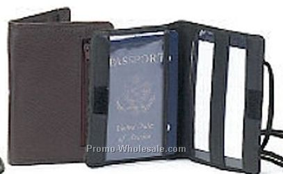 Leather Passport Cover With Adjustable Neck String