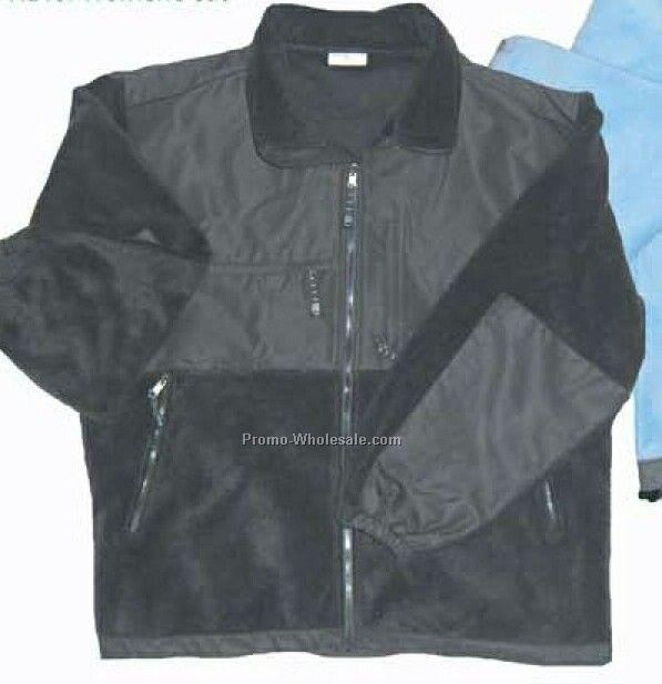Men's Full-zip Fleece Jacket With Nylon Patches (S-xl)