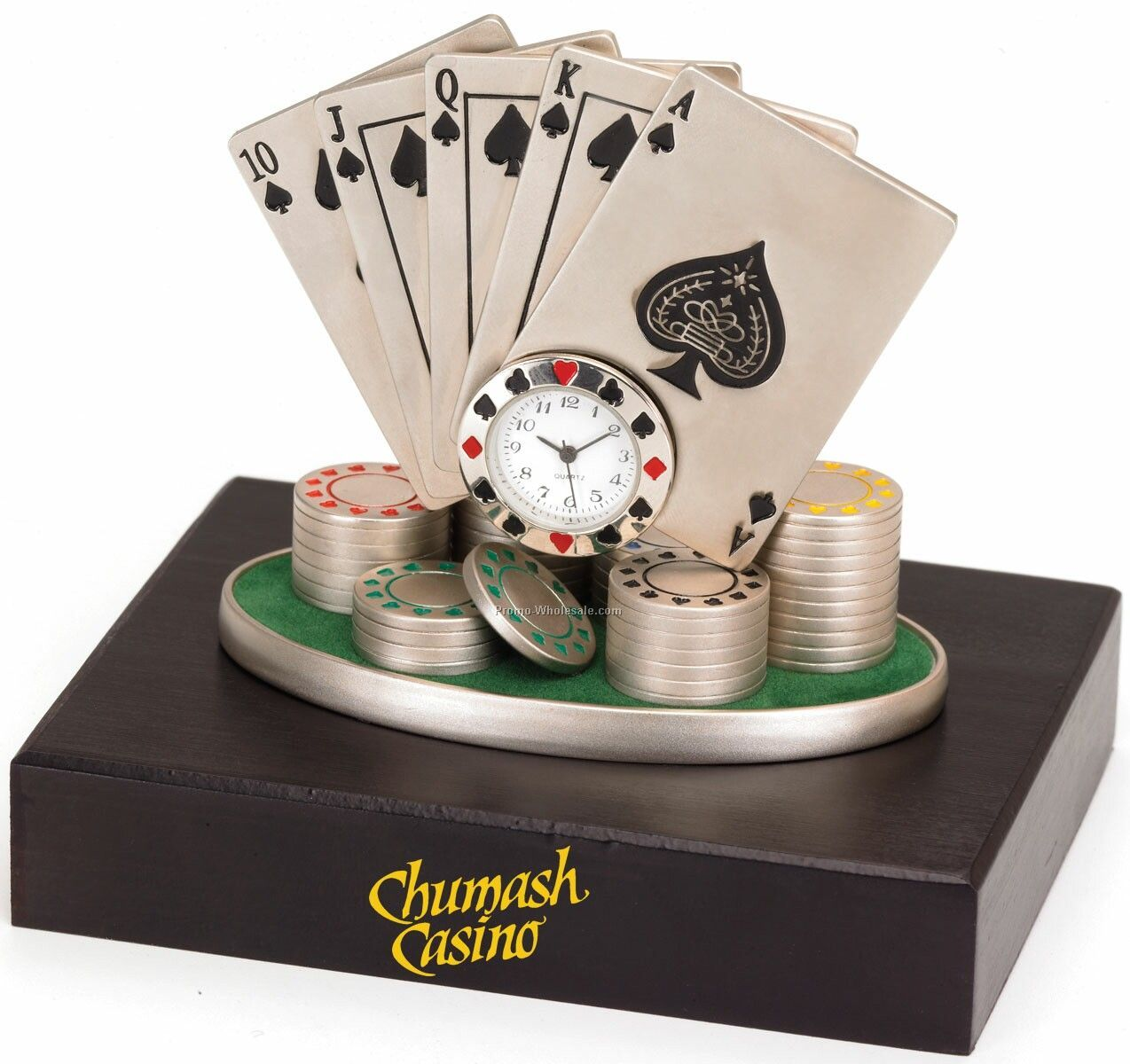 Metal Royal Flush With Clock