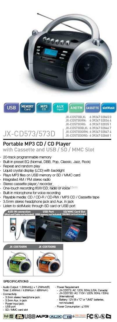 P-mp3 CD/CD W/Cassette/Radio/Memory Slot - Orange Dual Volt