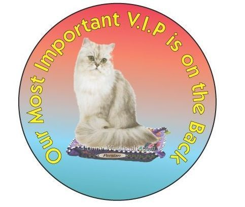 "Persian Cat Round Hand Mirror W/ Full Mirror Back (2-1/2"")"