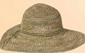 "Straw Hand Crocheted Crown W/ 4"" Brim (One Size Fits Most)"