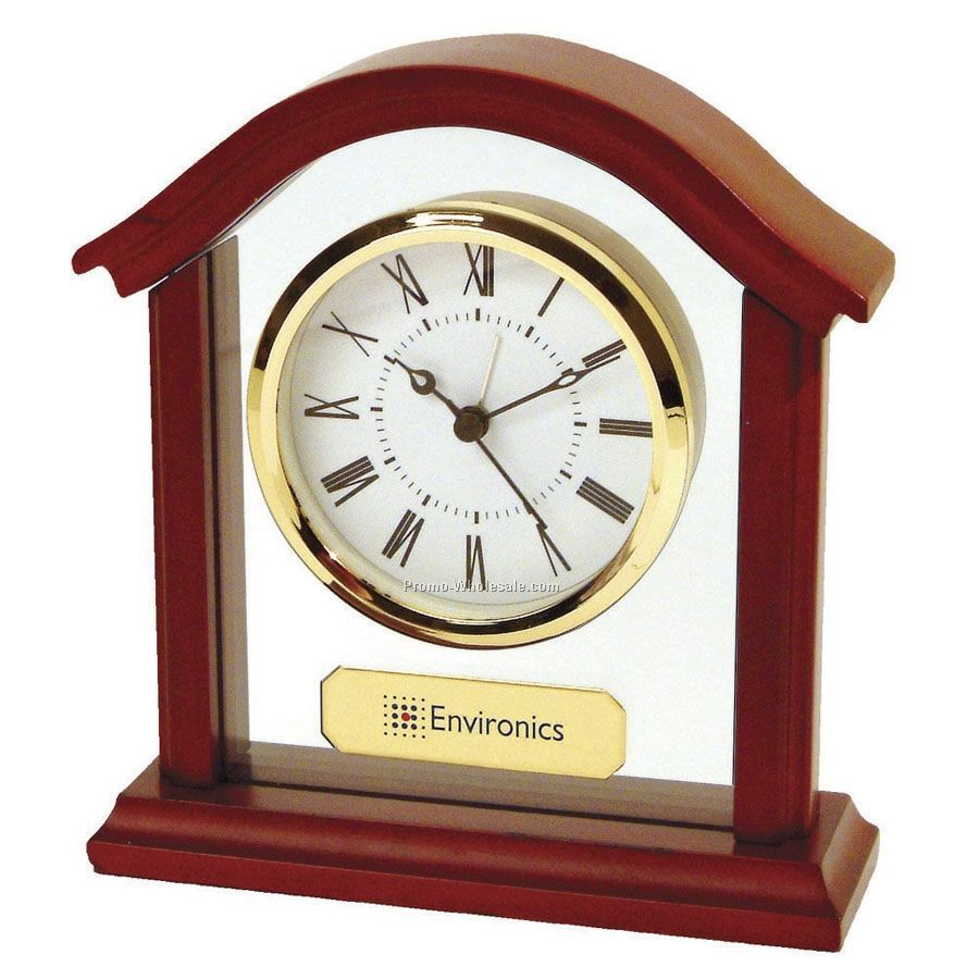 Stylish Wood Arch Alarm Clock W/ White Face