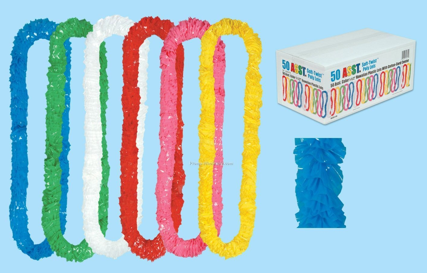 "1-1/2""x36"" 50 Soft Twist Poly Leis W/ Upc Code"