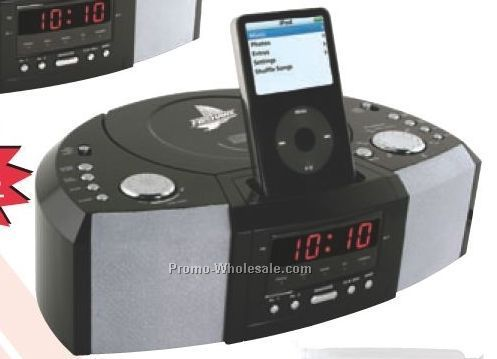 "11-1/4""x3-1/4""x7-1/2"" Stereo Alarm Clock AM/FM Radio W/ CD Player & Dock"