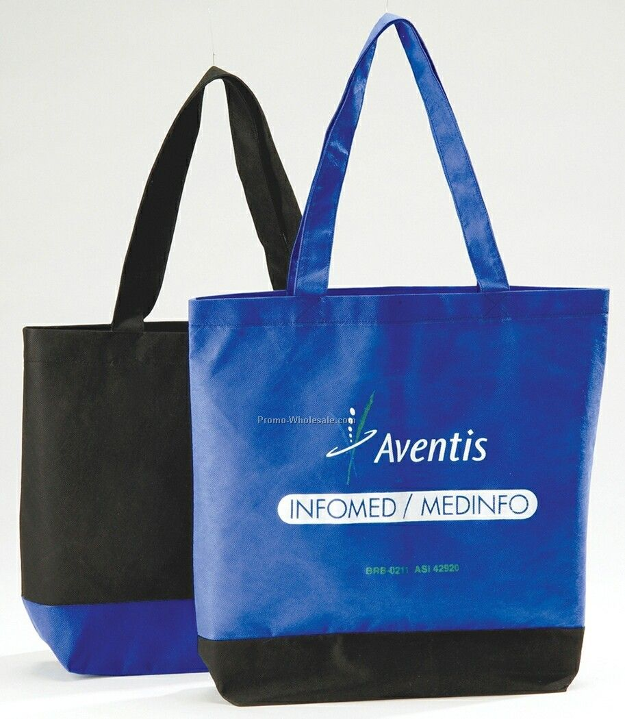 12 Oz. Non Woven Polypropylene Ultra Tote Bag W/ Contrast Base