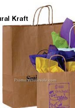 "18""x7""x18"" Natural Kraft Paper Shopping Tote Bags"