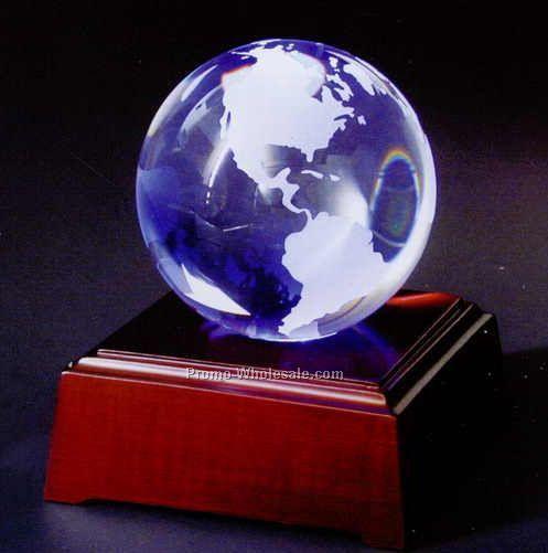 """4"""" Crystal Globe Award On LED Lighting Black Wood Base"""