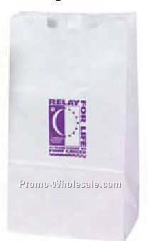 "7""x4-1/2""x12-3/4"" 12 Lb. Custom Printed White Kraft Lunch Sack W/ Gusset"