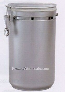 70 Oz. Matte Silver Round Airtight Canister