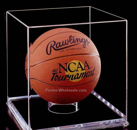 "Acrylic Basketball Display Case W/ Mirror (3/4"" Base)"