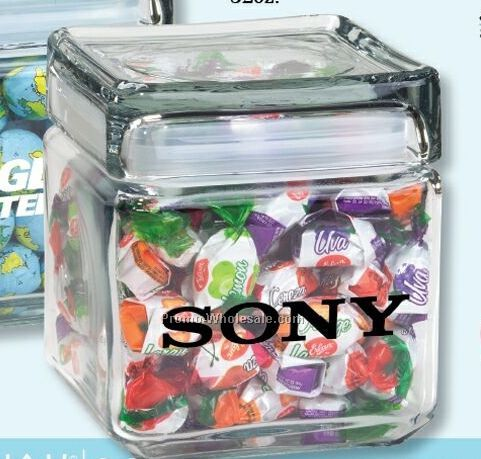 Assorted Jelly Beans 32 Oz. Square Glass Candy Jar