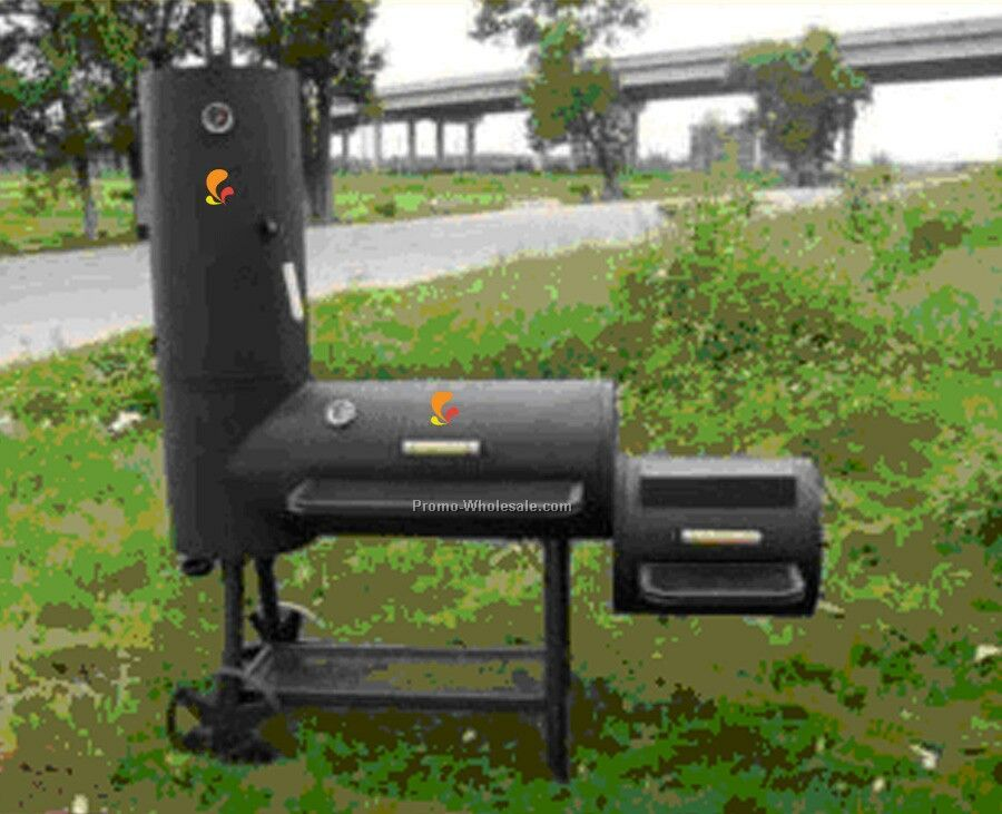 Barbecue Grills - Cylinder Style With Smoker And Side Fire Box