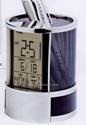 Calendar Alarm Clock Pen Holder
